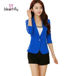 Wholesale Girls Blazer Clothing - Autumn Female Blazer Outerwear 2017 Spring Women Suit Slim Design Blue Fashion Jackets and Coats Girls Clothing Wholesale Tops