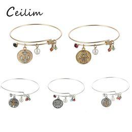 Wholesale Bracelet Multiple - Multiple choice silver gold plating starfish & anchor & hand pendant adjustable expandable bracelets for women rhinestone bead charms bangle