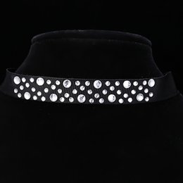 Wholesale Nylon Ribbon Designs - New Arrival Wholesale Mixed Shape Design Rhinestone Crystal Fitted Black Nylon Ribbon Choker Necklace With Lobster Clasps Free Shipping