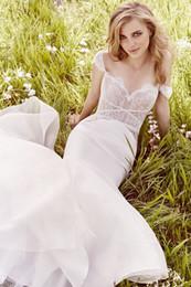 Wholesale Silk Organza Sweetheart Neck Wedding - Ivory Silk Organza Mermaid Wedding Dresses Crisscross Detailing Cap Sleeves Bridal Gowns Chantilly Lace Modest Wedding Gowns