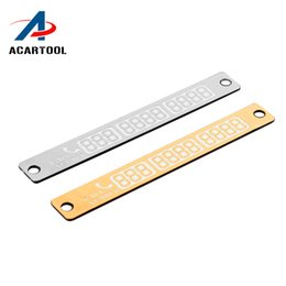 Wholesale number plate stickers - New 15*2cm Temporary Car Parking Card Telephone Number Card Notification Night Light Sucker Plate Car Styling Phone Number Card