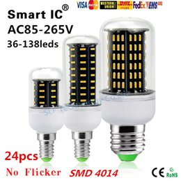 Wholesale E27 24pcs Led Corn - 24pcs 9W 12W 18W 20W 40W Led Bulb E27 E14 GU10 G9 Led Lights SMD 4014 Led Corn Lights AC 85-265V lamp bulbs