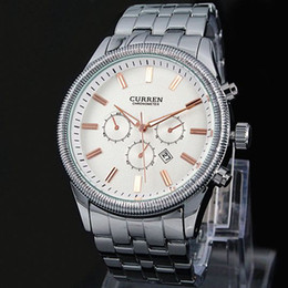 luxury watches curren Coupons - 2018 New Relogio Masculino male watch Luxury Curren Celebrity White Master Date Calendar Water Resist Sports Men Watch Steel Bracelet Chain