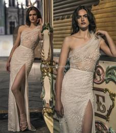Wholesale Long Skirts One Side - sexy side split skirt one shoulder wedding dresses 2018 liz martinez bridal elegant sheath full embellishment sweep train