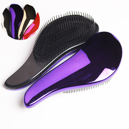 Wholesale Styling Combs - 1pc Magic Anti-static Hair Brush Handle Tangle Detangling Comb Shower Electroplate Massage Comb Salon Hair Styling Tool New Quality Wholesal