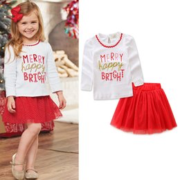 Wholesale Wholesale Long White Skirts - Chirstmas Girl Clothing Sets Gold Letter Printed Pure Cotton T-shirt Tops Tutu Glitter Cake Skirts 2pcs Baby Kids Suits White Red A7323