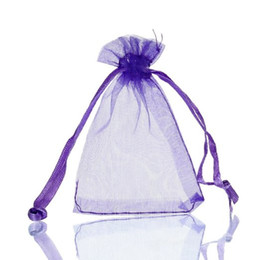 "Wholesale Drawstring Jewelry Pouch Purple - Purple Organza Drawstring Pouches Jewelry Party Small Wedding Favor Gift Bags Packaging Gift candy Wrap Square 5cm X7cm 2"" X2.75"" 100pcs lot"