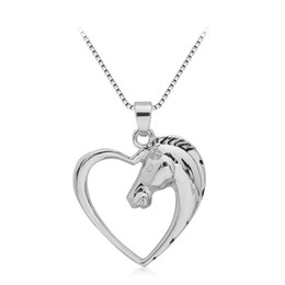 Wholesale Heart Shape Pendants For Couples - Fashion Horse Pendant Necklace Hollow Out Love Heart Shape Hot Animal Necklaces European and American Jewelry For Couples