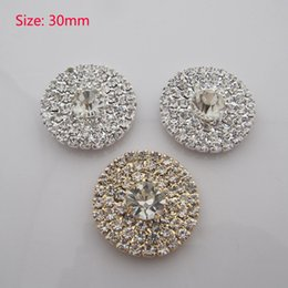 Wholesale Diy Flatback - Free Shipping Wholesale 50pcs lot 30mm Flatback Rhinestone Button DIY Button For Hair Flower Wedding Invitation RB0301