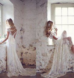 Wholesale Sexy See Through Bateau Mermaid - Open Back Vintage Capped Sleeve Wedding Dresses 2017 New Coming Lace Sweep Train Mermaid Bridal Gowns See Through Hot Sale