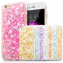 Wholesale Bling Rubber Iphone Cases - Ultra Slim Gold Foil Bling Paillette Sequin Skin Clear Soft Silicone Fundas Rubber Cover Case For iPhone 5s 6s 6Plus 7 7 plus Samsung S7