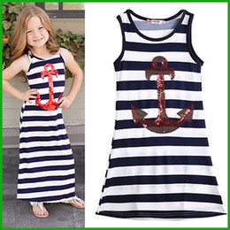 Wholesale Blue White Stripe Dress - 2016 top fashional style girls navy anchor sleeveless striped dresses children kids sequined blue white stripes party vestidos free shipping