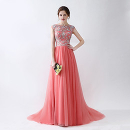 Discount pleat fabric - Evening Gowns Scoop Neck Sweep Train Beaded Patterns Tulle Fabric Zipper Back Prom Dresses Hot Sale