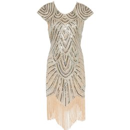 Wholesale fringe dresses - Summer Vintage 1920s Flapper Great Gatsby Sequin Fringe Party Dress Plus Size Mesh Dress Women Clothing Vestidos De Fiesta
