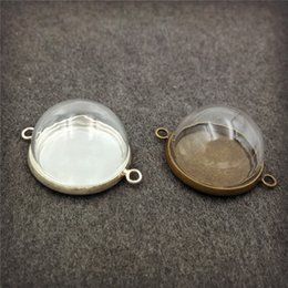Wholesale Glass Globe Ball Ring Wholesale - 15mm 20mm half glass ball glass dome cover with double hanger ring cap glass globe vial pendant handmade finding supply Christmas decoration