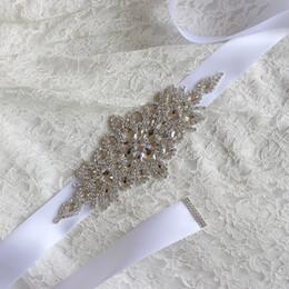 Wholesale Handmade Belts For Dresses - Handmade Beaded Wedding Bridal Sash With Rhinestones 2017 Romantic Long Bridal Belt For Wedding Dress Fast Shipping
