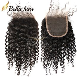 Wholesale Lace Part Closure Piece - Curly Top Lace Closure Peruvian Virgin Hair Natural Color Human Hair Extensions 1 Piece Closure Free Shipping Bella hair