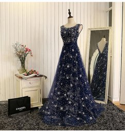 Wholesale Shirt Catch - Eye Catching Evening Gowns Scoop Sleeveless Open Back Sweep Train Stars Shape Bling Bling Beading Long Prom Dresses Real Pictures 2017