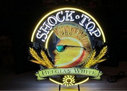 Wholesale Red Top Beer - New Shock Top Design Neon Sign Handicrafted Real Glass Tube Neon Light Beer Lager Bar Pub Sign Optional size