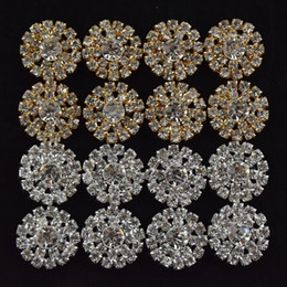 Wholesale Bow Hair Accesories - Sunflower Shaped Alloy Multi-rhinestone Button Golden and Silver Girls Jewelry Accesories DIY Kids Hair Accesories Headwear B263