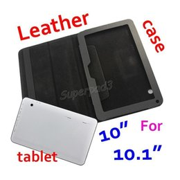Wholesale Cheap Tablet China - Cheap Wholesale 50pcs PU Leather Protective Tablet Case For For A33 A83T 10 10.1 Inch Solid Black Folding Folio Cover DHL Freeshipping