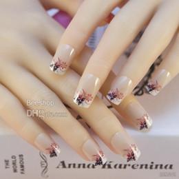 Wholesale False Full Nails - 24pcs set Pre Designed Acrylic False Nail Full Cover Tips with free nail glue 12J246