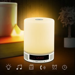 Wholesale Touch Screen Alarm Wireless - 5pcs lot Portable Wireless Bluetooth Speaker Smart Touch Lamp Rechargeable Speaker With LED Screen & Alarm Clock & TF Card Slot FreeShipping