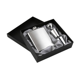 Wholesale Gift Flasks - 7 oz Stainless Steel Hip Flask Sets jack Flagon With Funnel Cups wine Whisky Hip Flask Portable Flagon bottle Gift Box Packing wa4065