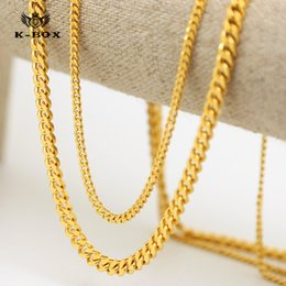 Wholesale Gold Filled Wedding Necklace - AAAAA stars 24K 3mm 5mm 30 inch Wide Solid Gold Plated Small Miami Cuban Curb Link Chain men chain Necklace DJ singer