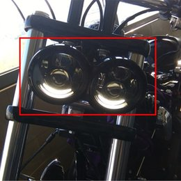 """Wholesale Dual Motorcycle Headlight - Harley Dyna Fat Bob Light Harley Motorcycle Dyna Fat Bob Dual Headlamp, Daymaker 4.65"""" Double LED Headlights With DRL Halo Ring"""