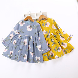 Wholesale Western Style Dresses Kids - Fashion Girls Floral Cotton Dress Cute Baby Children Yellow and Purple Color Western Kids Spring Fall Dresses