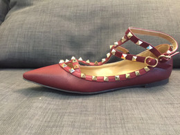 Wholesale Making Out Hot - Tailor made! 3747 40 41 42 43 genuine grain leather burgund pointy strappy flats ballet shoes ballerinas brand v luxury designer classic hot