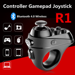 Wholesale Android Phone Tv Remote - New Arrival R1 Ring Remote Wireless Game Controller Gamepad Bluetooth 4.0 Game Pad Joystick 5V 1A For PC Smart TV IOS Android Phone VR Box