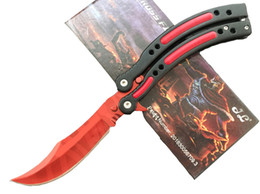 Wholesale Fire Steel Knife - 2016 Red CSGO JL Cross Fire CF Bm42 Knives 440 Stainless Steel Bowie Tactical Knife Survival Knife Hunting Knife F484L