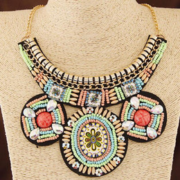 Wholesale Indian Clothing Accessories - National style personality jewelry Europe and the United States exaggerated necklace clothing accessories collar handmade rice beads fake