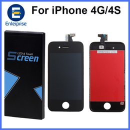Wholesale Iphone Gsm Lcd Assembly - A+++++ High Quality For iphone 4 4G 4S iphone4 GSM OEM JDF Full LCD Display Digitizer Touch Panel Screen Assembly With Frame Fast Shipping