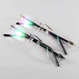 Wholesale Demo Lenses - Fashion Glasses Eyewear Eyeglasses For Men Women Rimless Frame Spectacles Optical Clear Demo Lenses Oculos Grey Gold