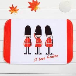 Wholesale London Carpet - London Soldier Bath Mats White and Red 100% Polyester Coral Fleece Rectangle Cartoon Non-slip Bathroom Bedroom Carpet Home Mat