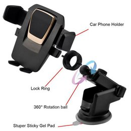 Wholesale Easy Note - Easy One Touch 3 Car Mount Universal Phone Holder 360 Degree Suction Cup Cradle Stand Holders for iPhone X Samsung S8 Note 8