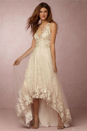 Wholesale Dresses Short Front Back Long - Lace Appliqued Wedding Dresses 2017 Bohemain Boho High-Low Short Front Long Back V Neck Sleeveless Sexy Wedding Gowns Custom Made