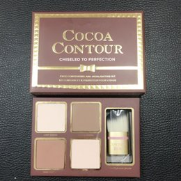 Wholesale Shimmer Sticks - ( In Stock ) - COCOA Contour Kit 4 Colors Bronzers Highlighters Powder Palette Nude Color Shimmer Stick Cosmetics Chocolate Eyeshadow Brush