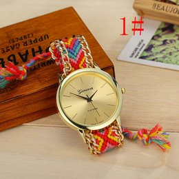 Wholesale Vintage Sale Tags - Hot Sale Colorful Braided Rope Watch Women Vintage DIY Woolen Quartz Watch Metal Chain Casual Dress Relogio Watch ZA0024