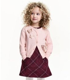 Wholesale Horse Machine - Kids sequins sweater girls colorful butterfly horse knitted long sleeve cardigan coat children cute polka dots princess sweater jacket R0360