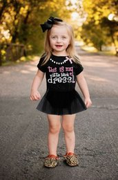 Wholesale Necklace Romper - Summer Hot Newborn Baby Dresses Kids Girls Lace Flower Romper My Little Black Dress Necklace Bowknot Printed Tops Short Sleeve Tutu Clothes