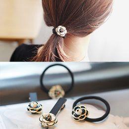 Wholesale Hair Rubber Band Rope - Korean small black and white rose fragrant elegant hair rope ring Tousheng rubber band hairpin hairpin hairpin
