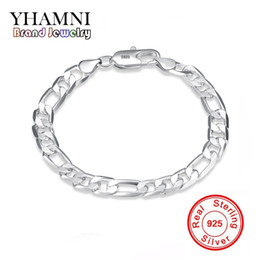 Wholesale Sterling Silver Solid Bangles - YHAMNI Original Real Solid 925 Pure Silver Men Fashion Charm Bangle Luxury Wedding Jewelry Gift H200