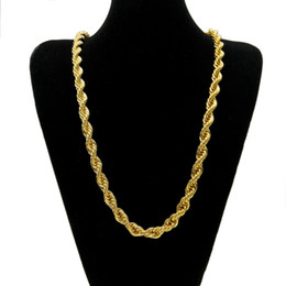 Wholesale Gold Filled Wedding Necklace - 10mm Thick 76cm Long Rope Twisted Chain 24K Gold Plated Hip hop Twisted Heavy Necklace For mens