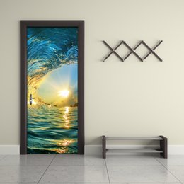 Wholesale picture mural - 77x200cm Ocean Wave Door Mural Sticker Colorful Sea Water Billow Door Wall Sticker Mural Door Picture for Living Room Home Decoration