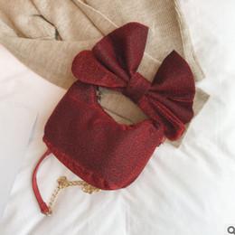 Wholesale Mini Gift Bows - Children bag girls big BOWS handbag fashion kids chain messenger bag women mini bag cross-body girls princess accessory gifts R0413