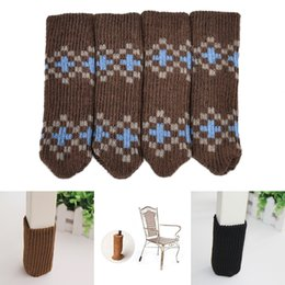 Wholesale Table Chair Covers Cushion - Wholesale- 4PCS Chair Table Leg Knitting Wool Cover Pad Anti-Slip Sock Floor Protector Foot Sleeve Edge Corner Guard Supply